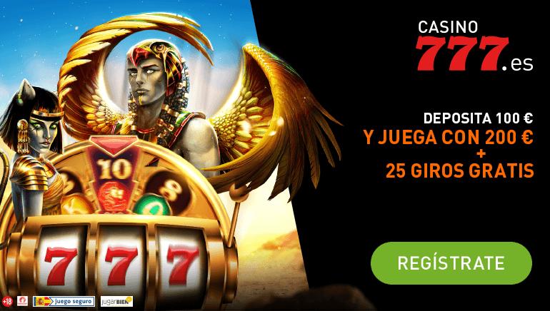 Registrándose en Casino777 ES puede obtener 200€ y 25 tiros libres