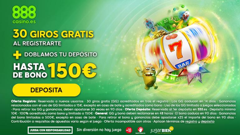 30 tiros libres y hasta 150€ de bienvenida a este 2020 en 888 casino online en España