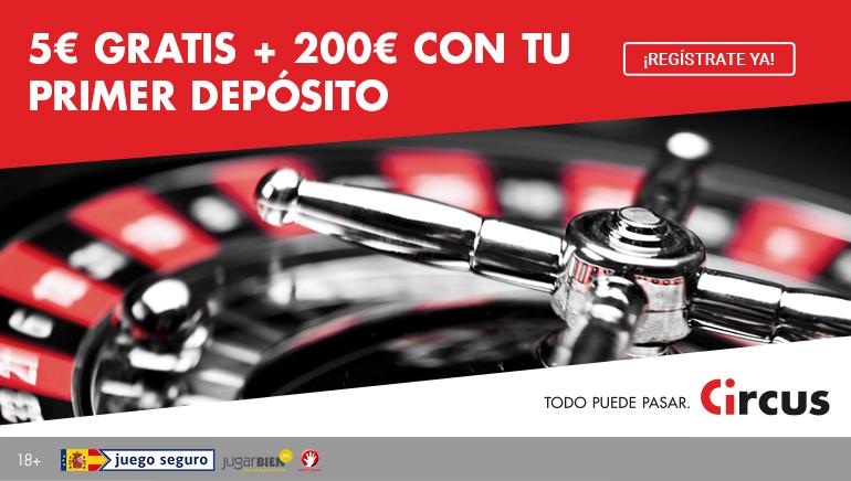 Circus Casino te regala 5€ + hasta 200€ con tu primer depósito con hasta 3 bonos de bienvenida