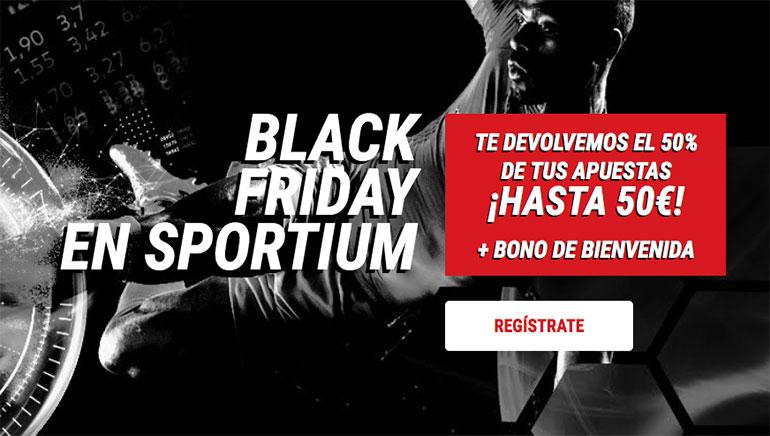 Sportium en Black Friday te devuelve el 50% de tus apuestas
